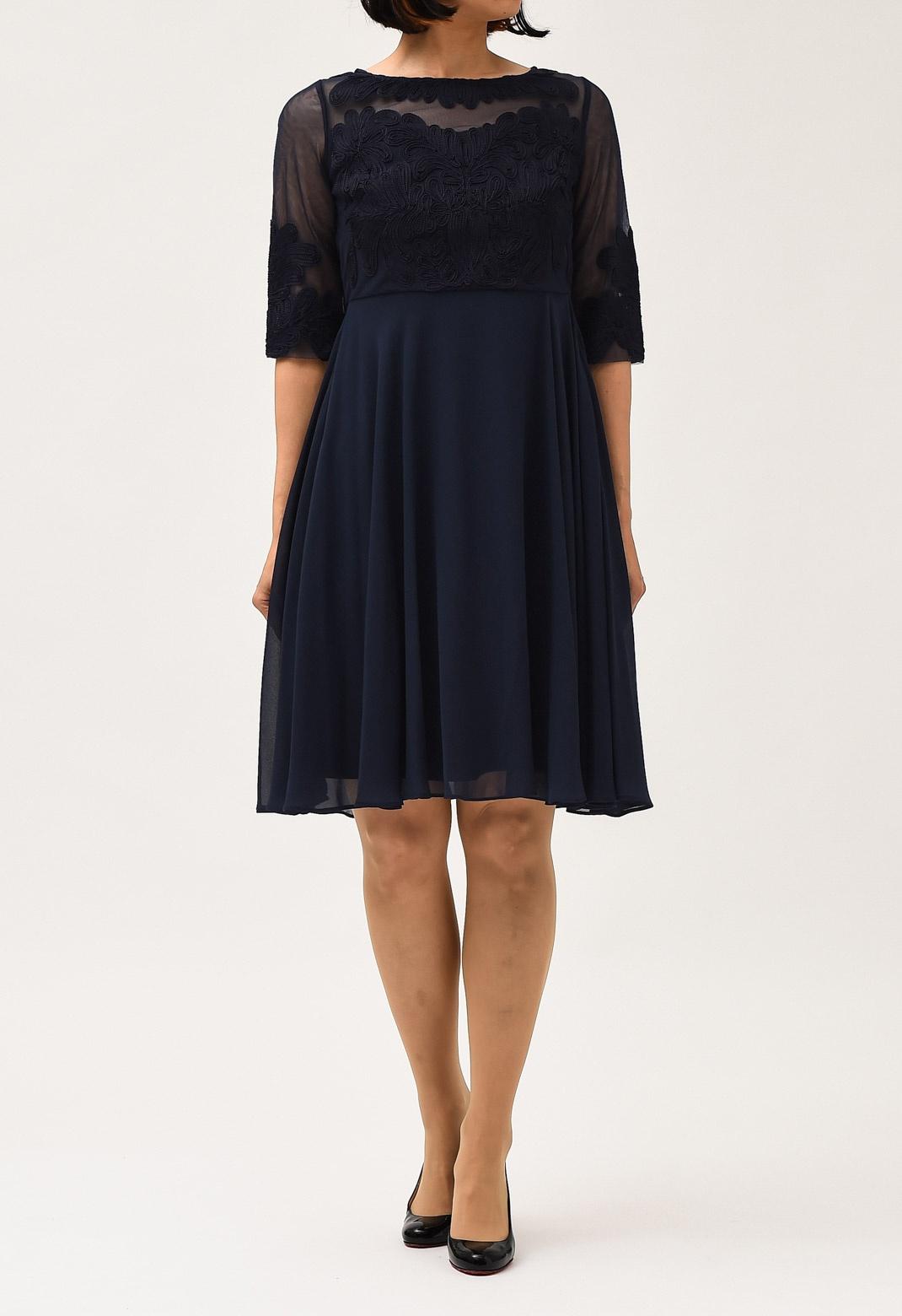 七分袖 刺繍× シフォン フレアー ドレス