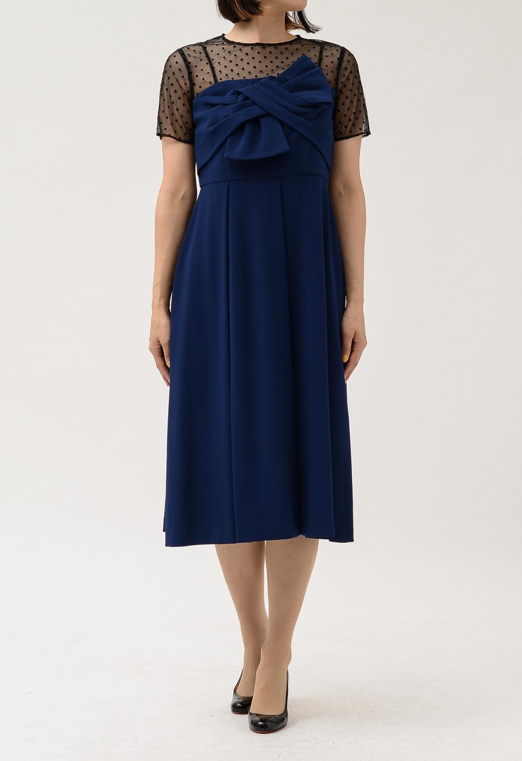 ドットチュール切替 リボン 半袖 ドレス