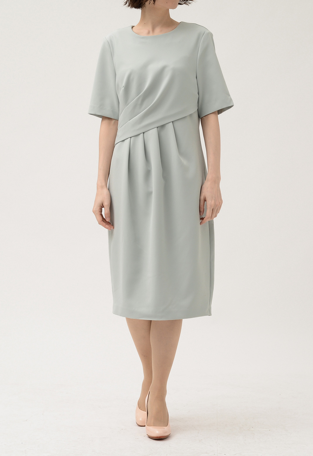 フロント アシンメトリー タック 半袖 ドレス
