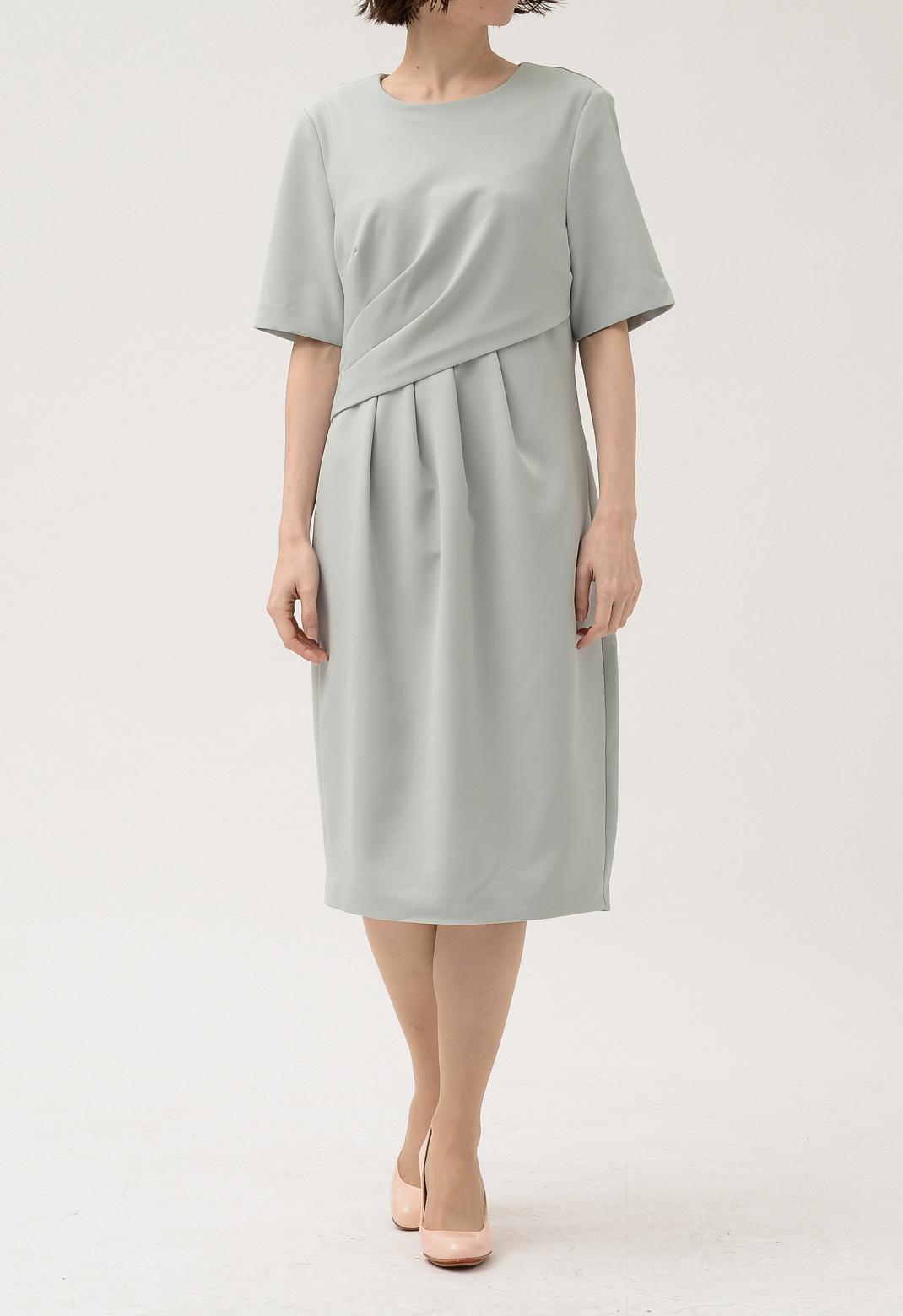 アシンメトリー タック 半袖 ドレス