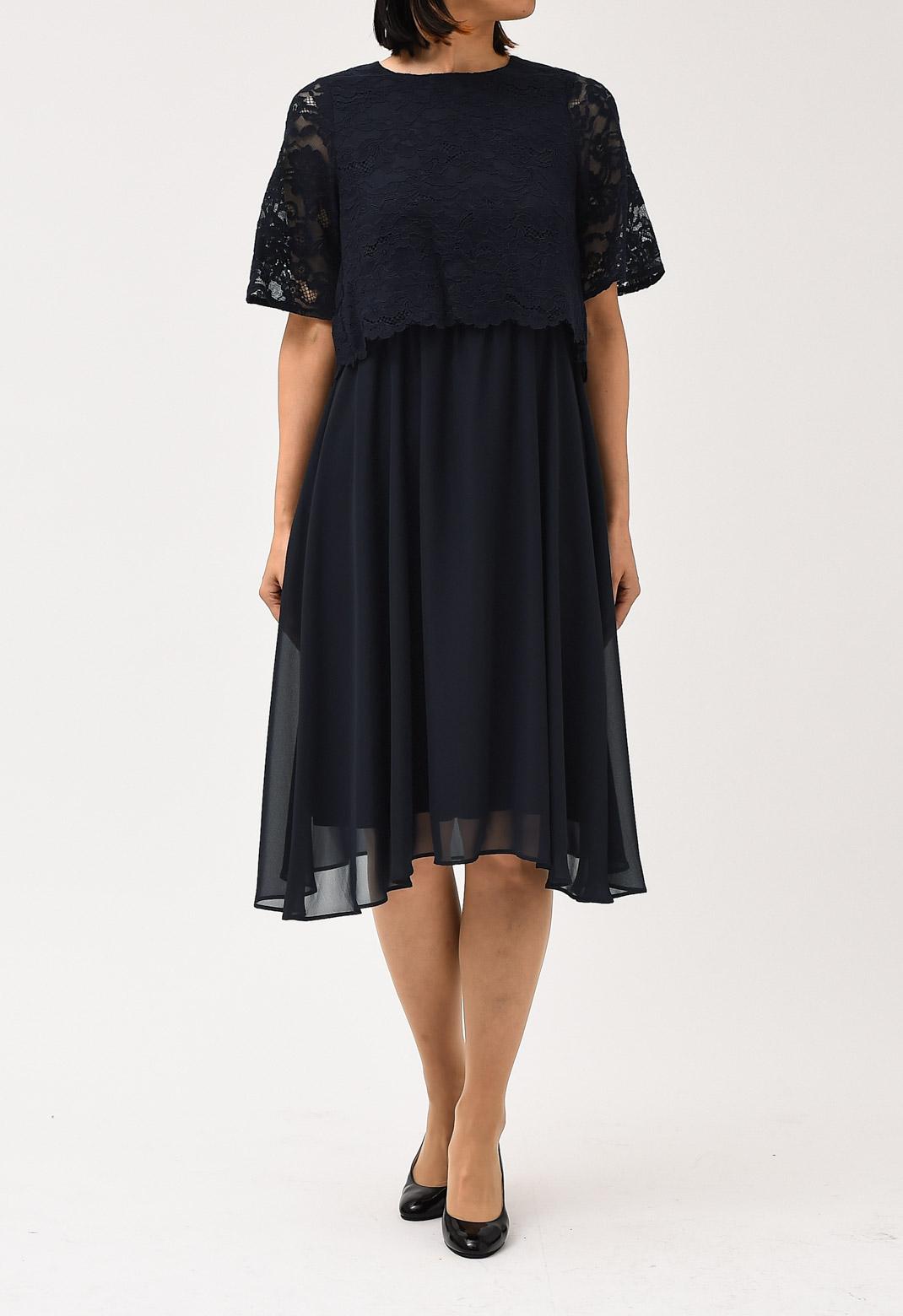 シフォン×レース ウエストゴム 半袖 ドレス