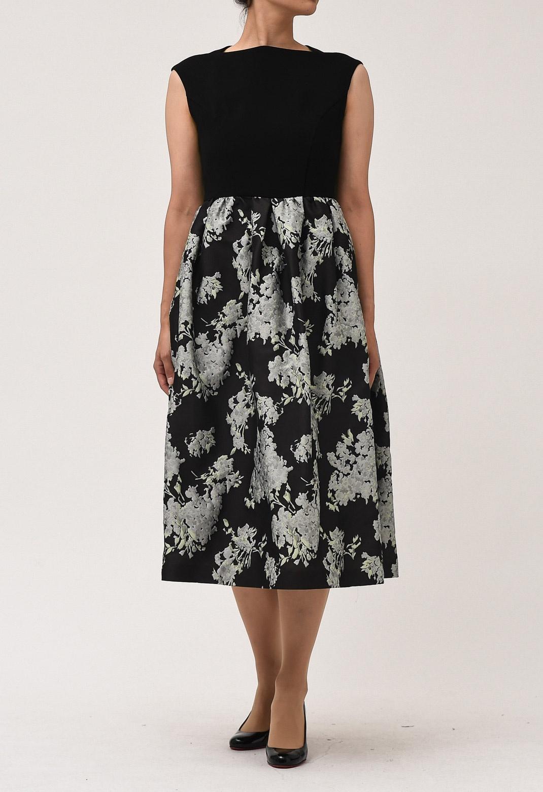 【オンライン限定】ジャガード 花柄 ドッキング ドレス