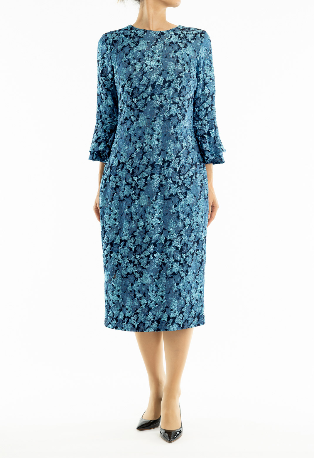 花柄ジャガード 七分袖 ドレス