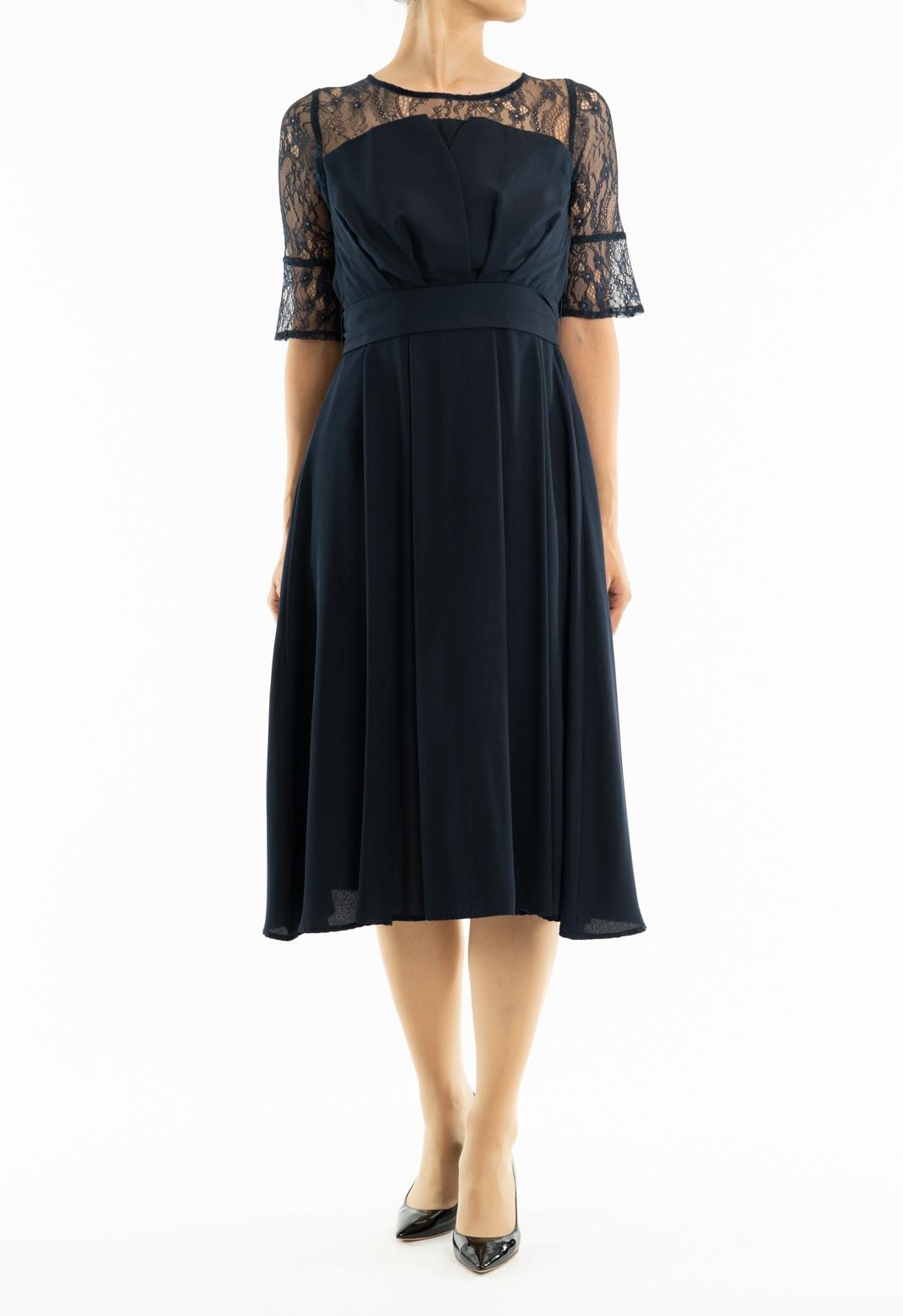 ビスチェ風 レース切替え 七分袖 ドレス