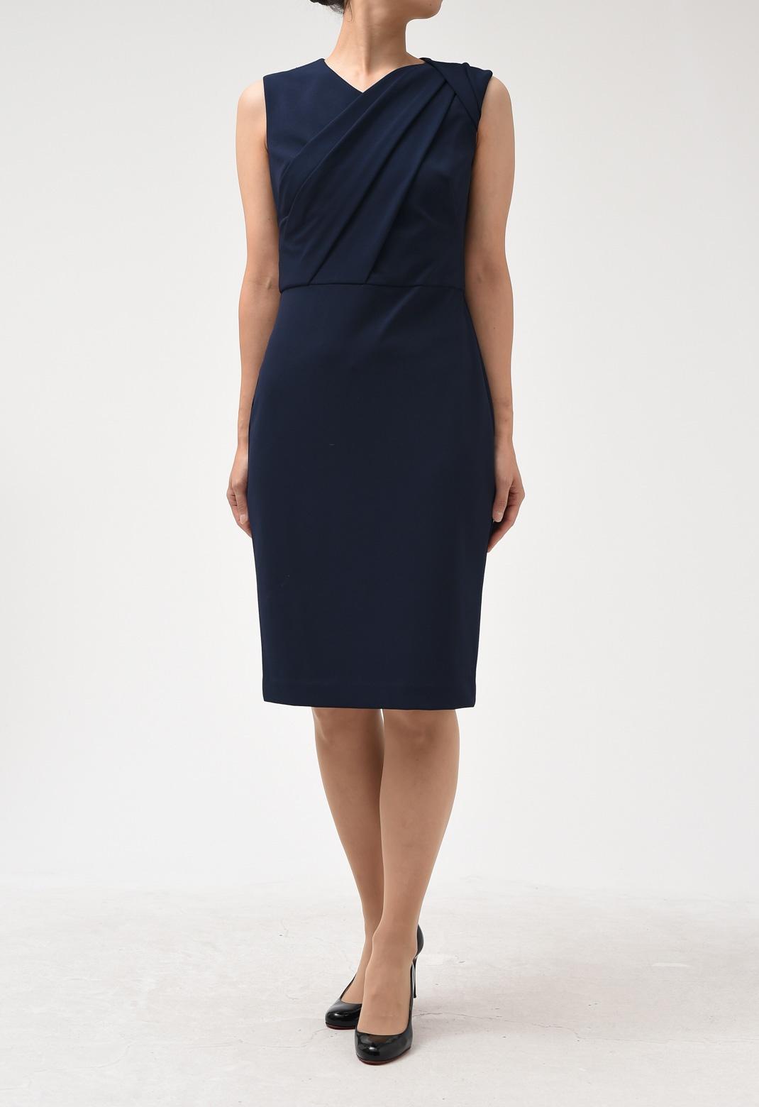 フロントドレープ ノースリーブ ドレス