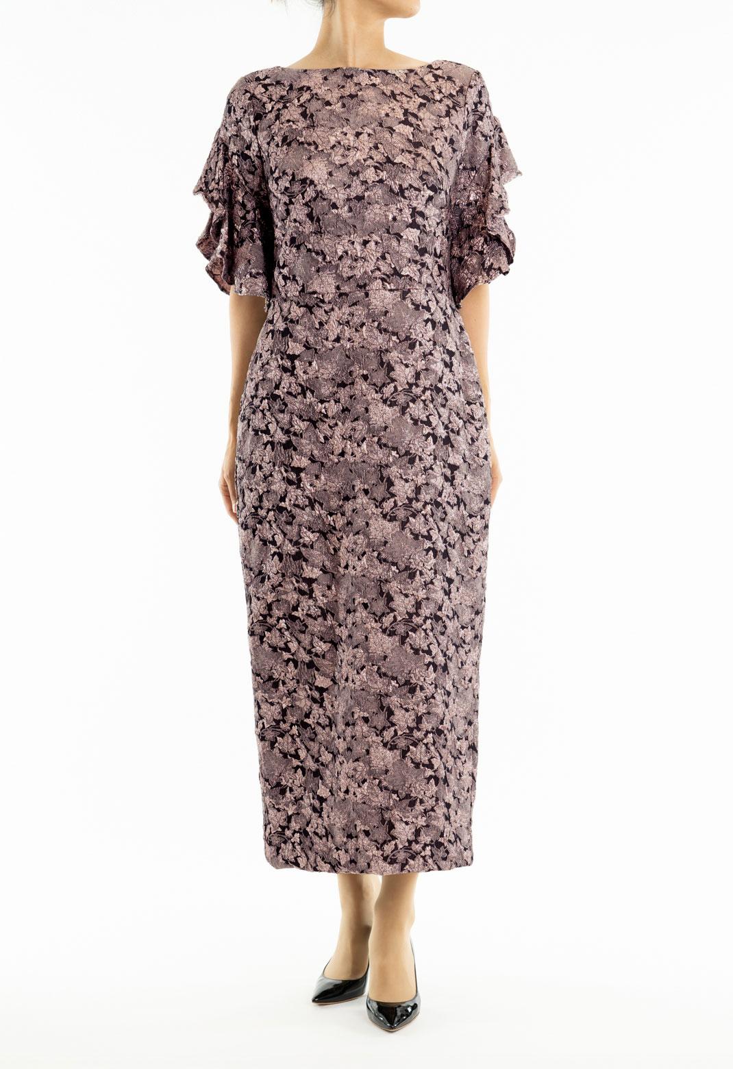 花柄ジャガード 半袖 ロングドレス
