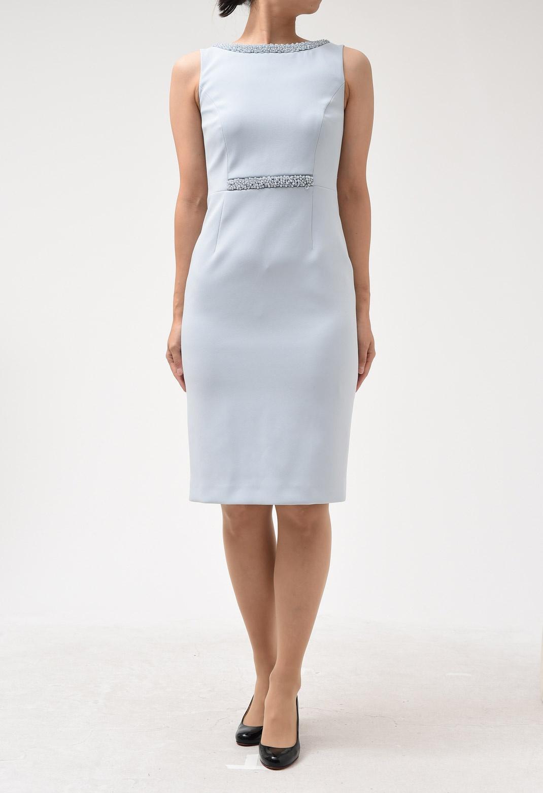 ビジュー飾り ノースリーブ ドレス
