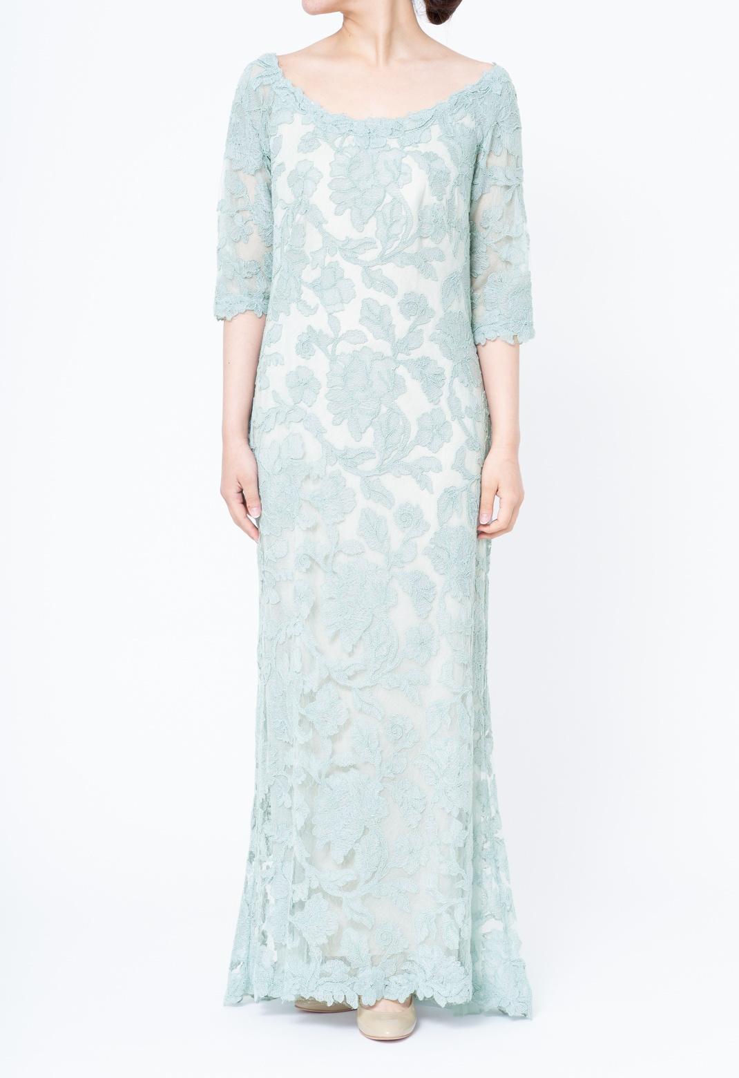 花柄 総レース 五分袖 ロングドレス