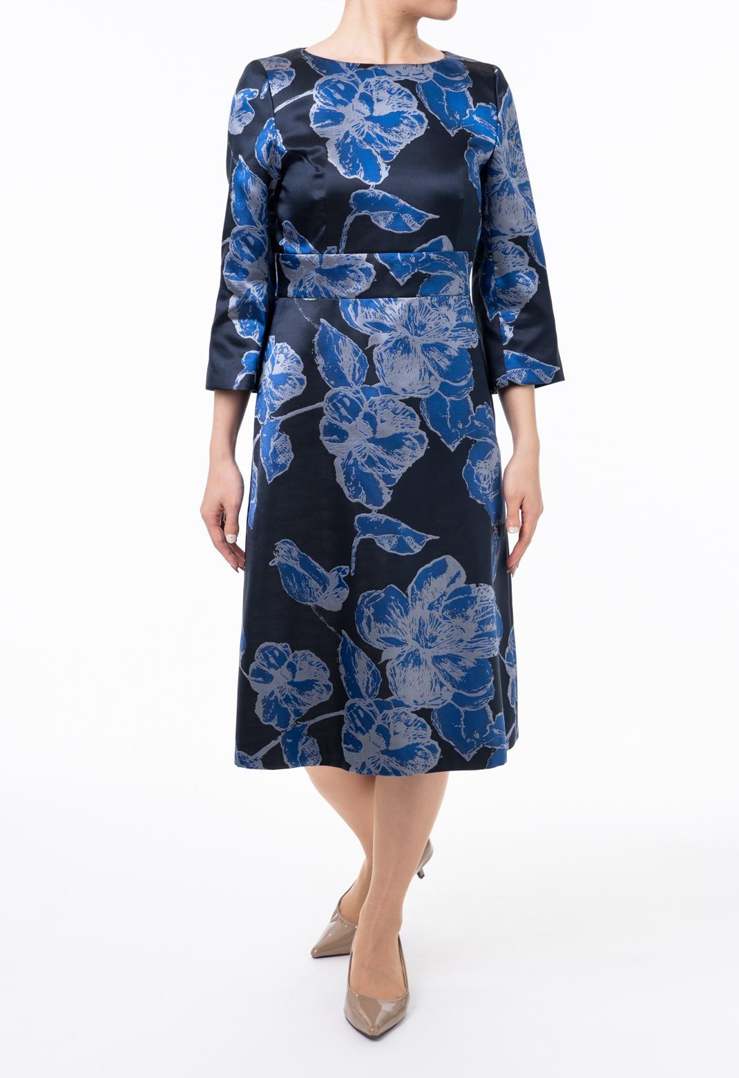フラワージャガード 七分袖 ドレス