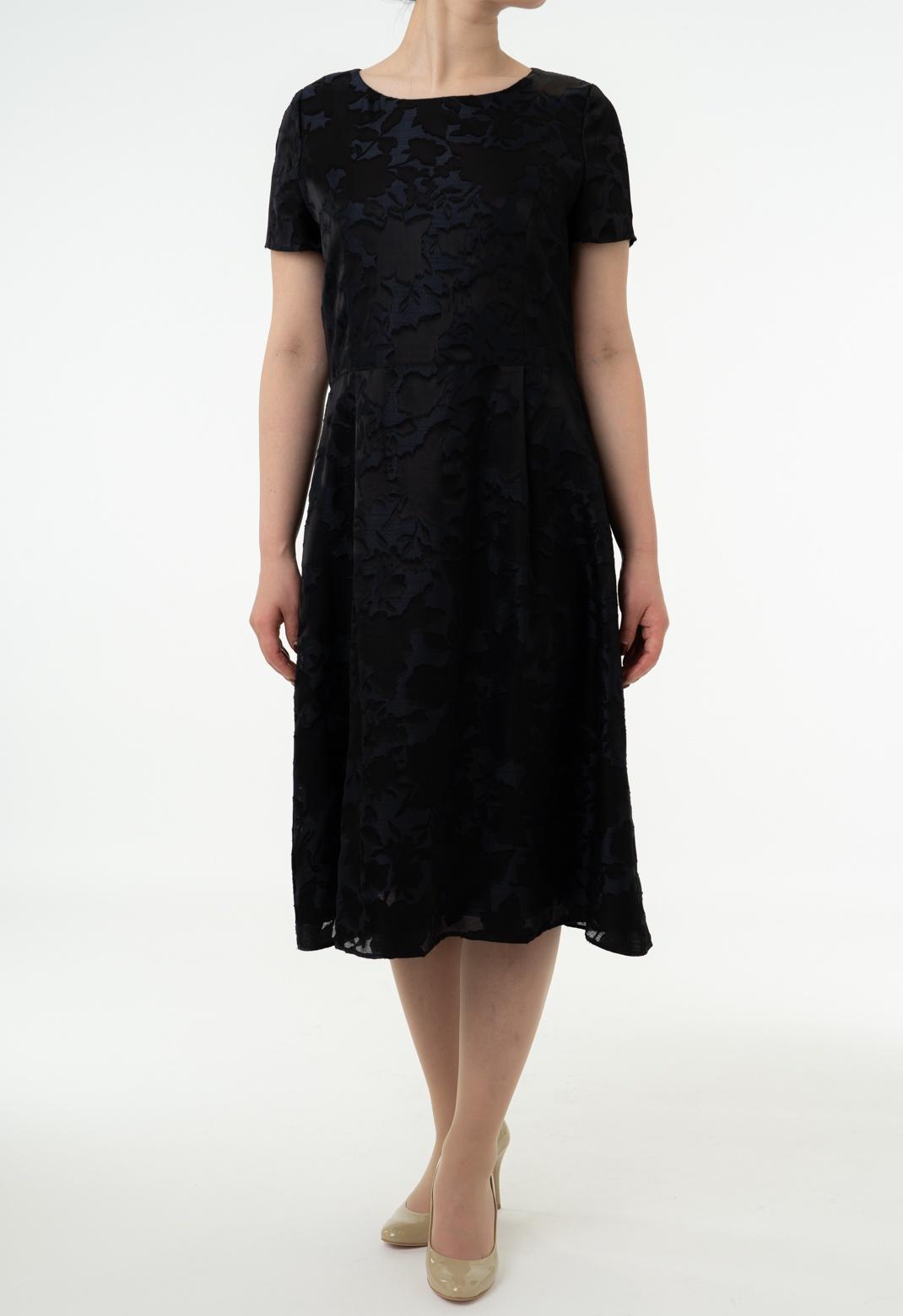 オパール加工 フラワーシルエット 半袖 ドレス