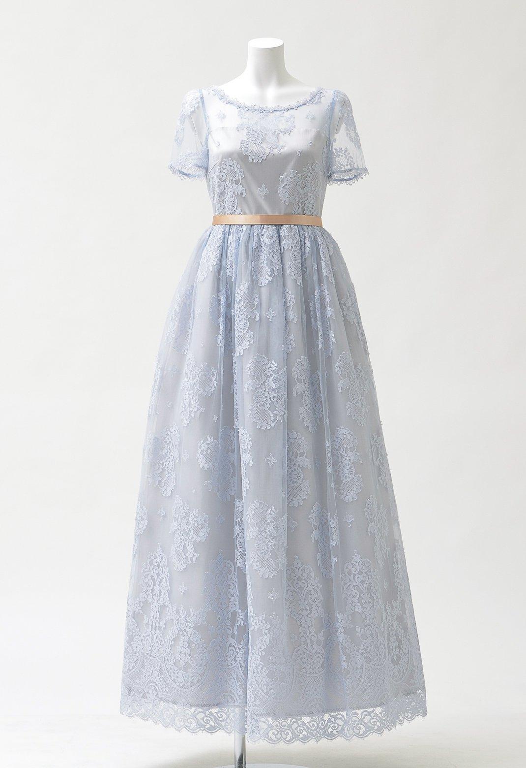 ジルスチュアート 総レース チュチュ付き 半袖 ロングドレス