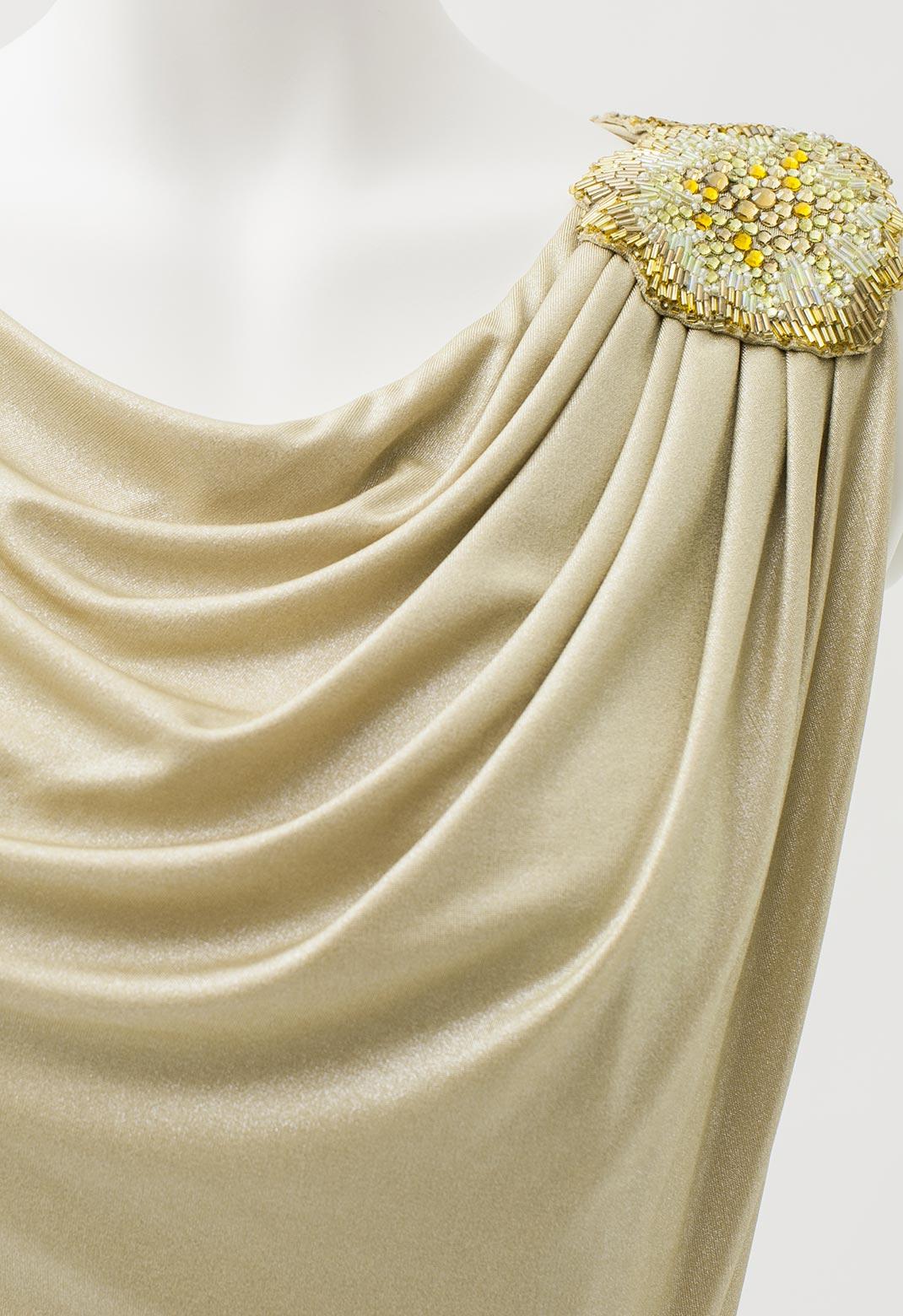 タダシ ビジュー飾り ドレープ ノースリーブ ロング ドレス