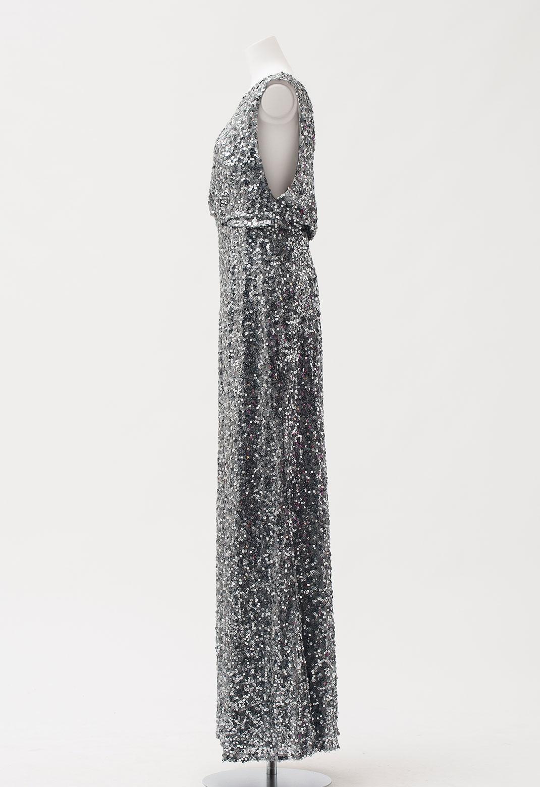 総スパンコール ノースリーブ ロングドレス