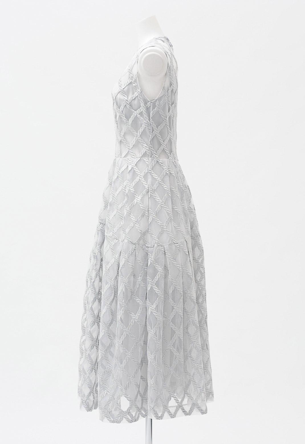 シルバー編み柄 ノースリーブ ロングドレス
