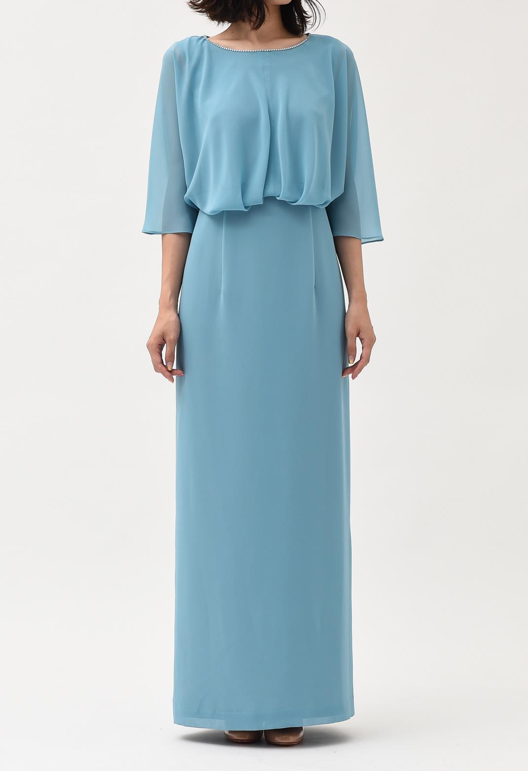 ネックビジュー 五分袖 ロングドレス