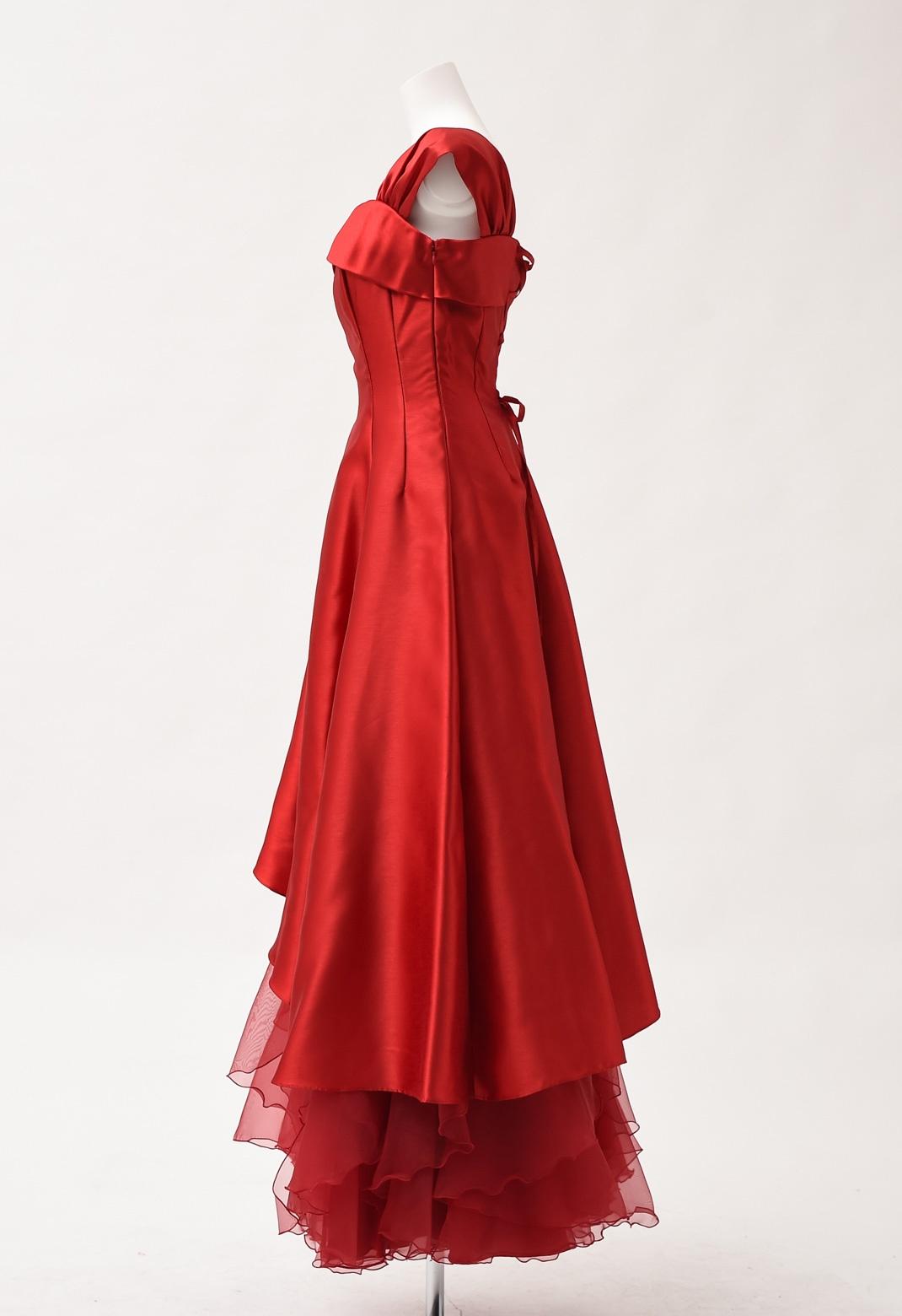 サテン×裾シフォン フレンチスリーブ ロングドレス