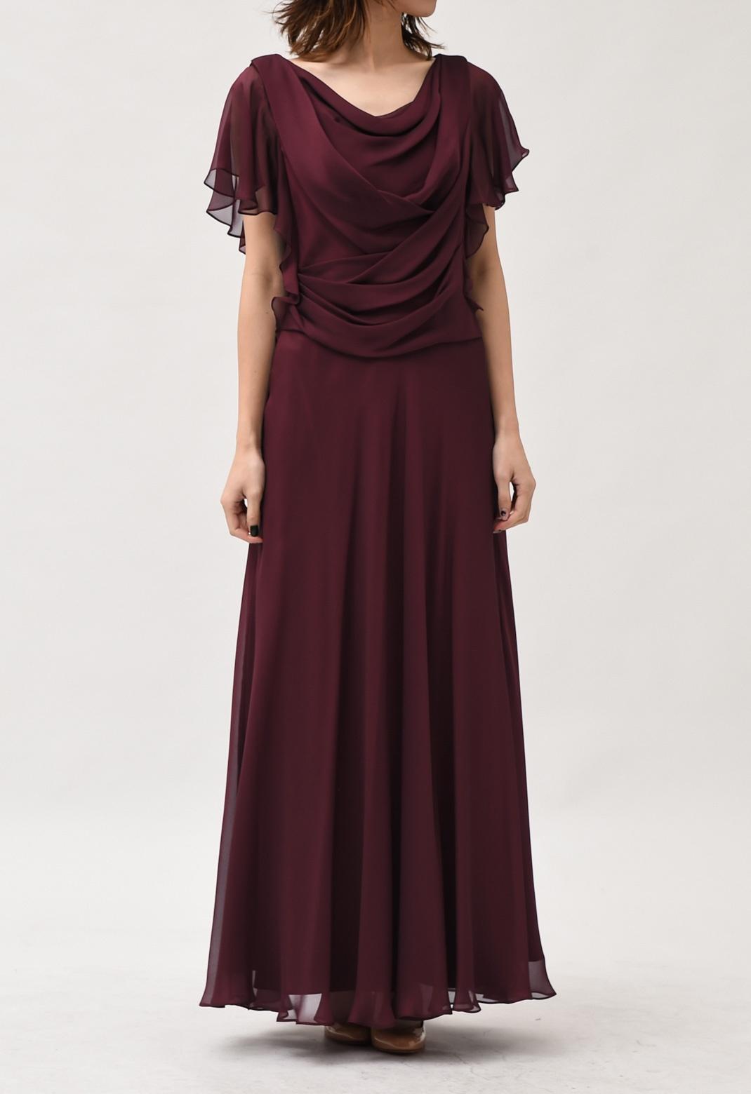 カシュクール風ドレープネック半袖ロングドレス M