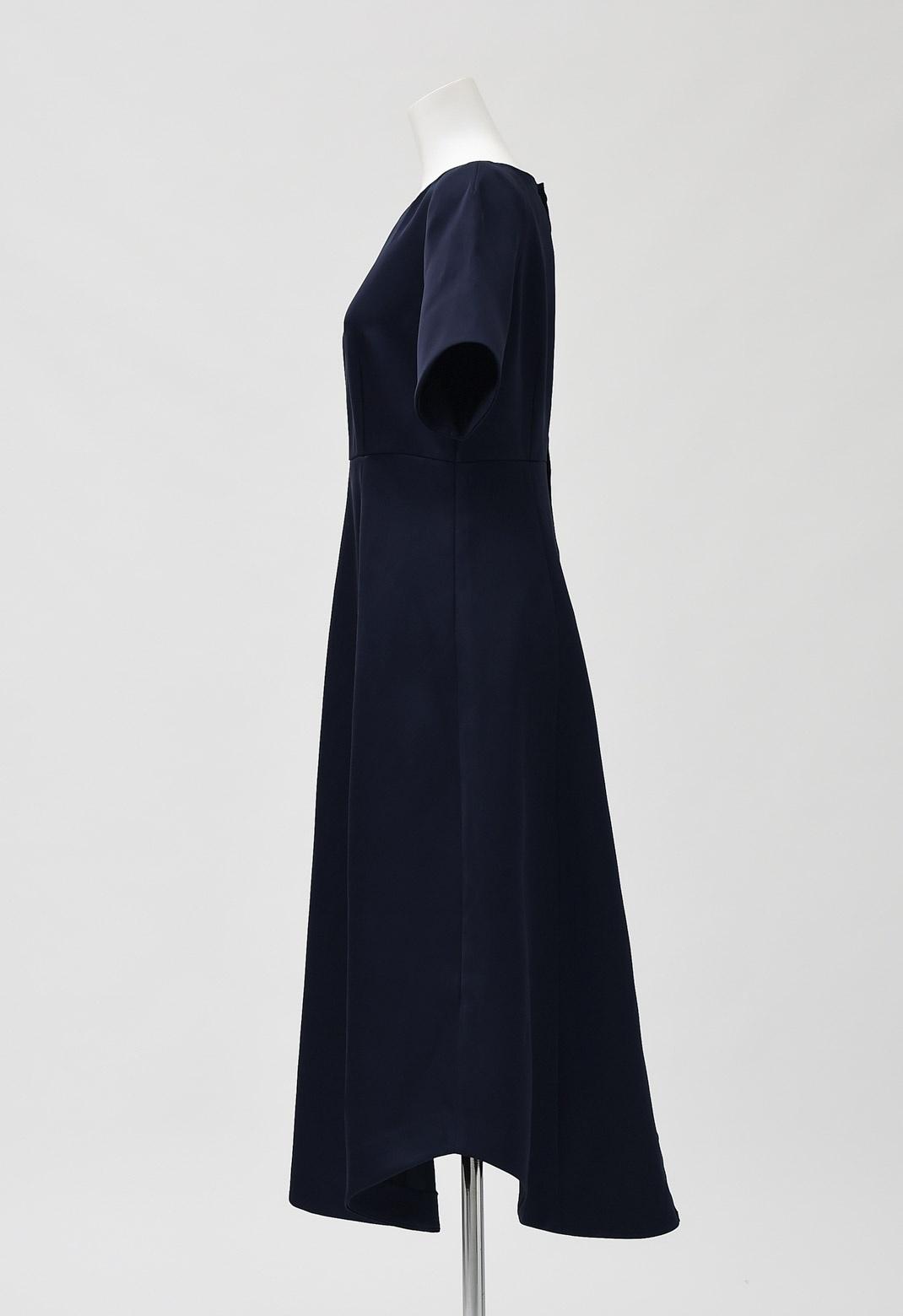 ラウンドカット サテン 半袖 ドレス
