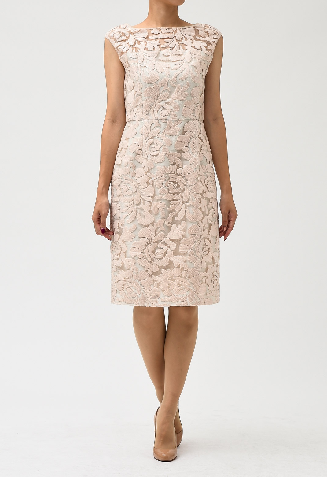 GRACE CONTINENTAL スパンフラワータイトドレス