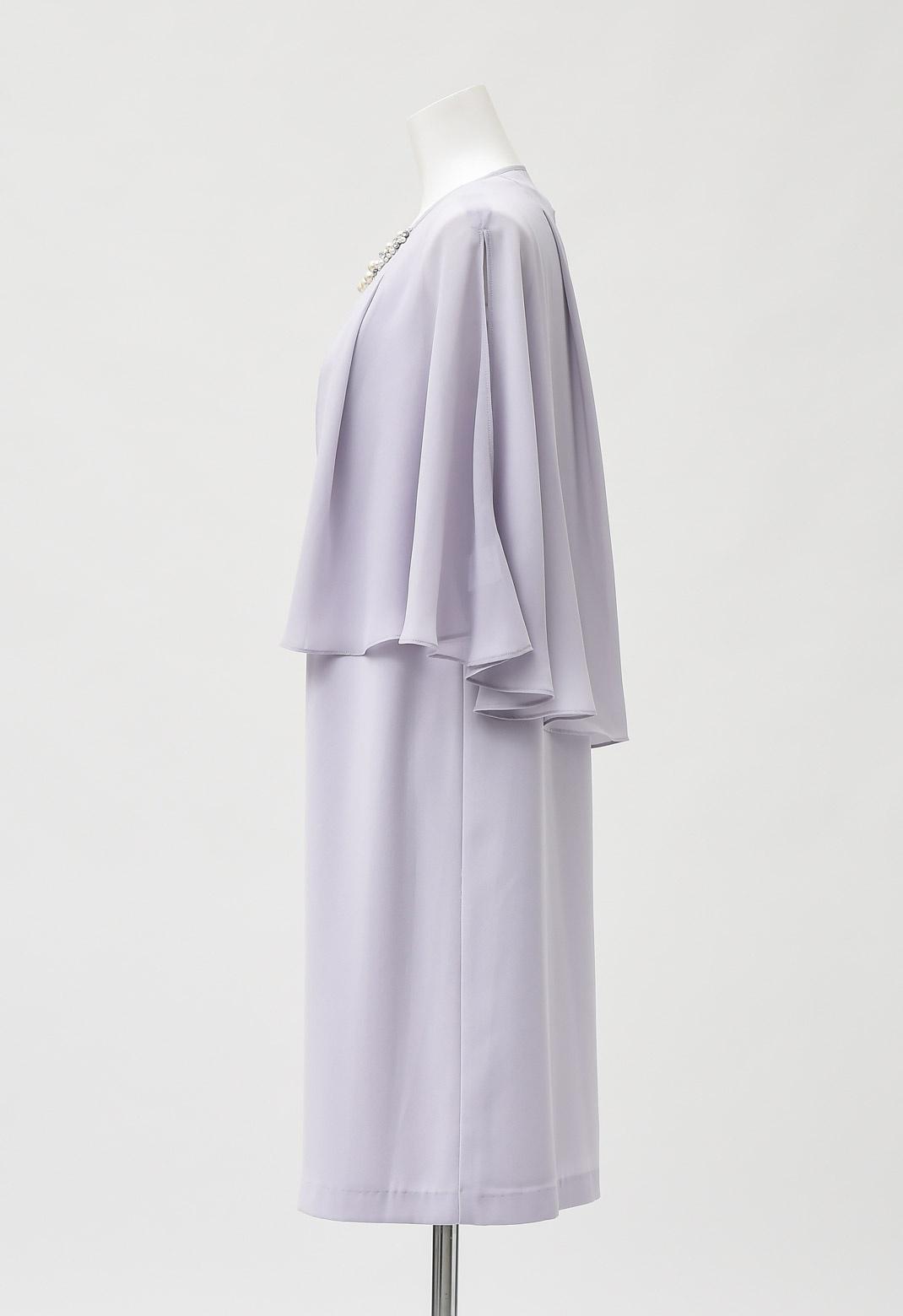 パール付き ケープ レイヤード 2WAY ドレス