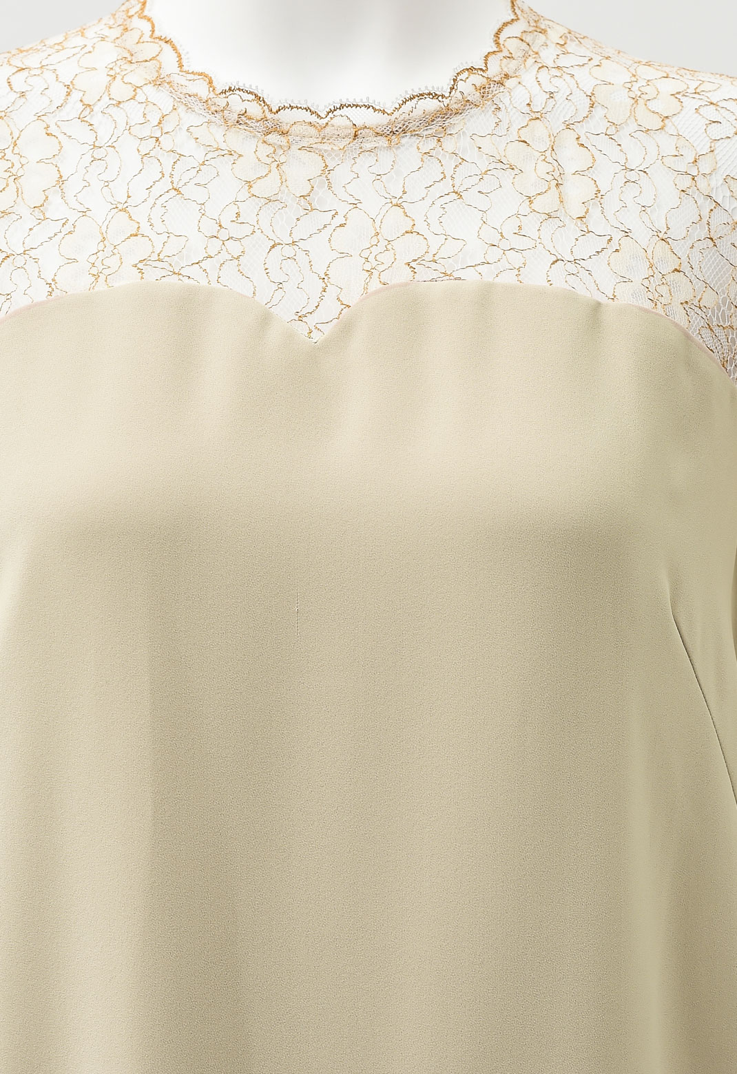 レース切替 フリル 七分袖 ドレス