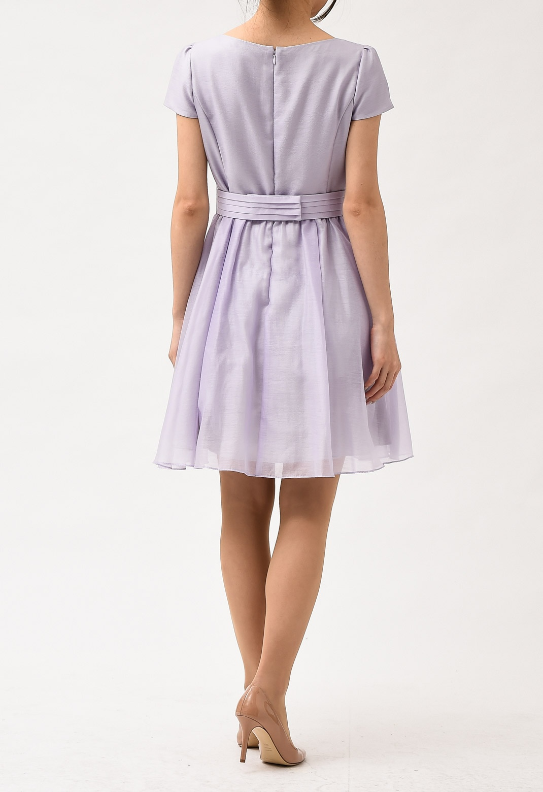 ネックレス付き 半袖 フレアー ドレス
