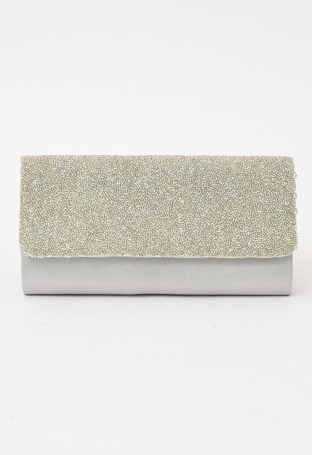 John Lewis シルバー ビーズ 刺繍× グログラン クラッチ バッグ