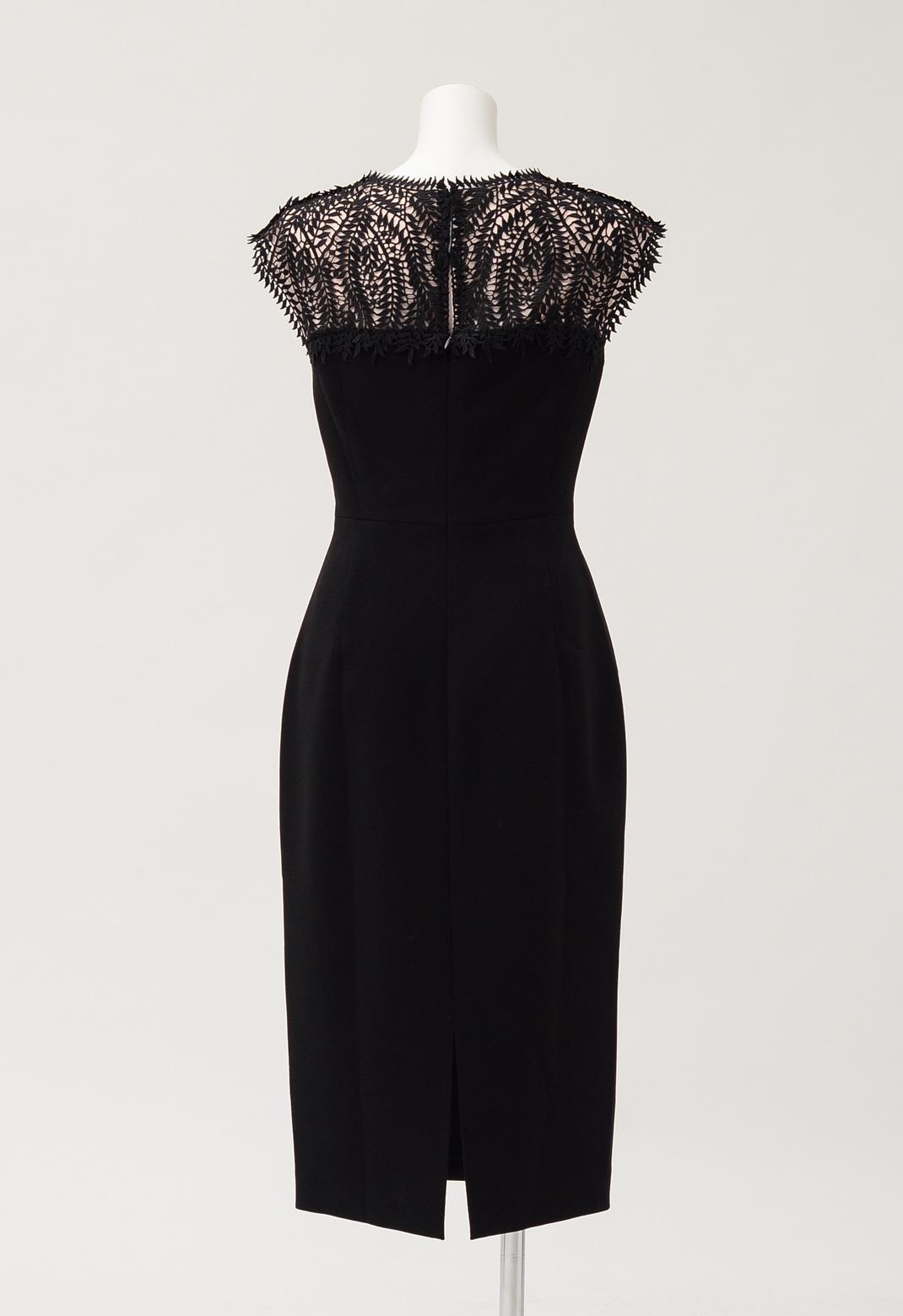 レース切替 ノースリーブ ブラック ドレス