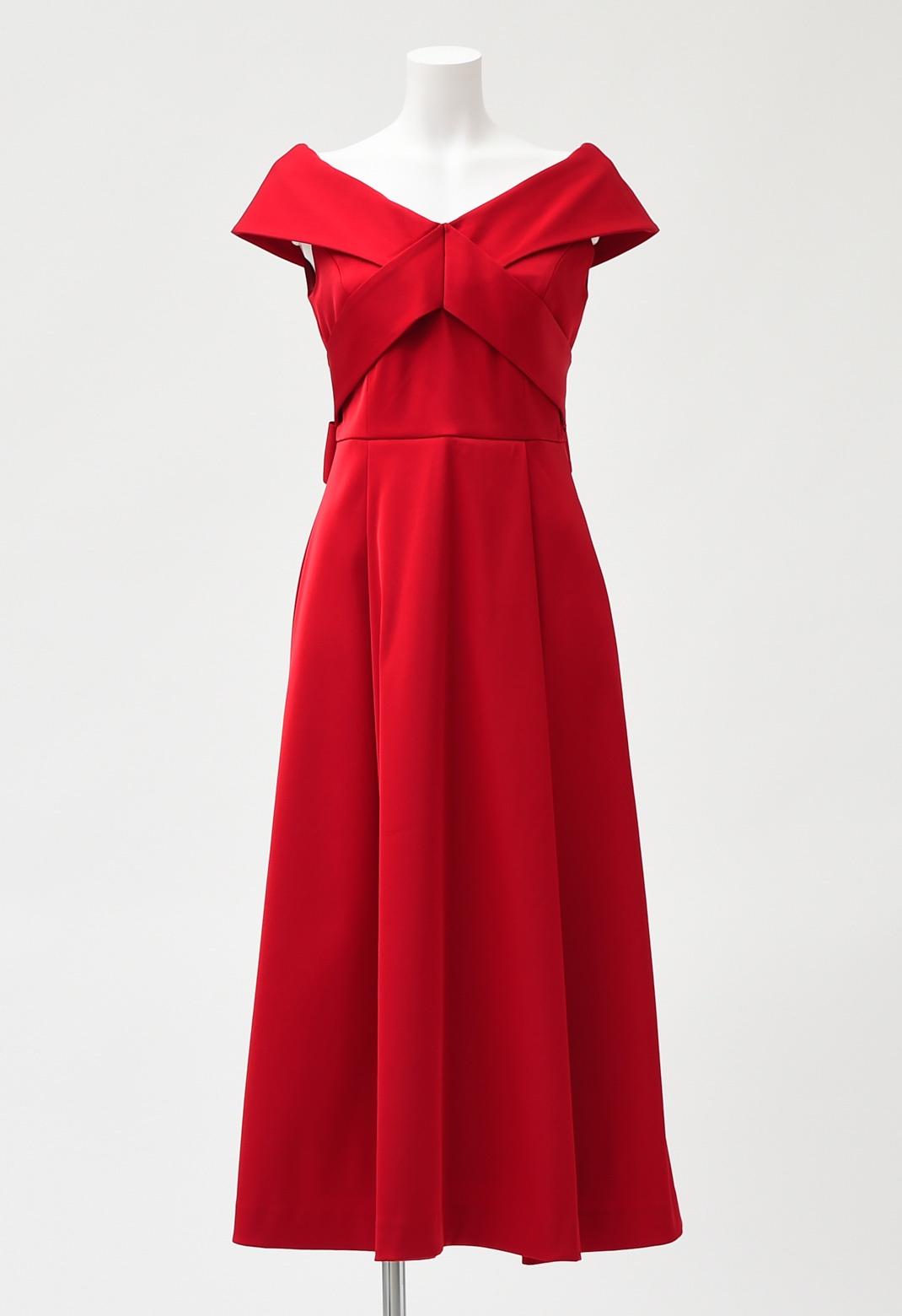 オフショルダー ロング ドレス