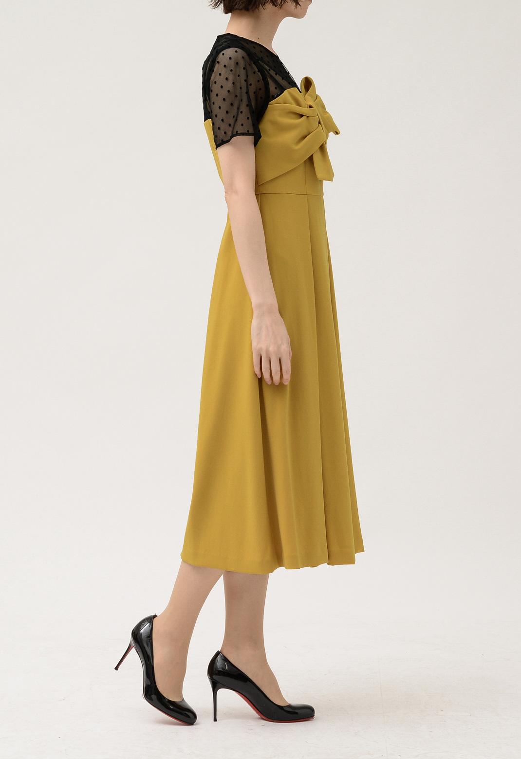 グレースコンチネンタル ドットチュール切替 リボン 半袖 ドレス