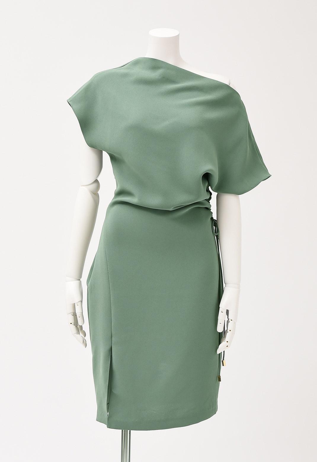 フレンチスリーブサイドシャーリングドレス