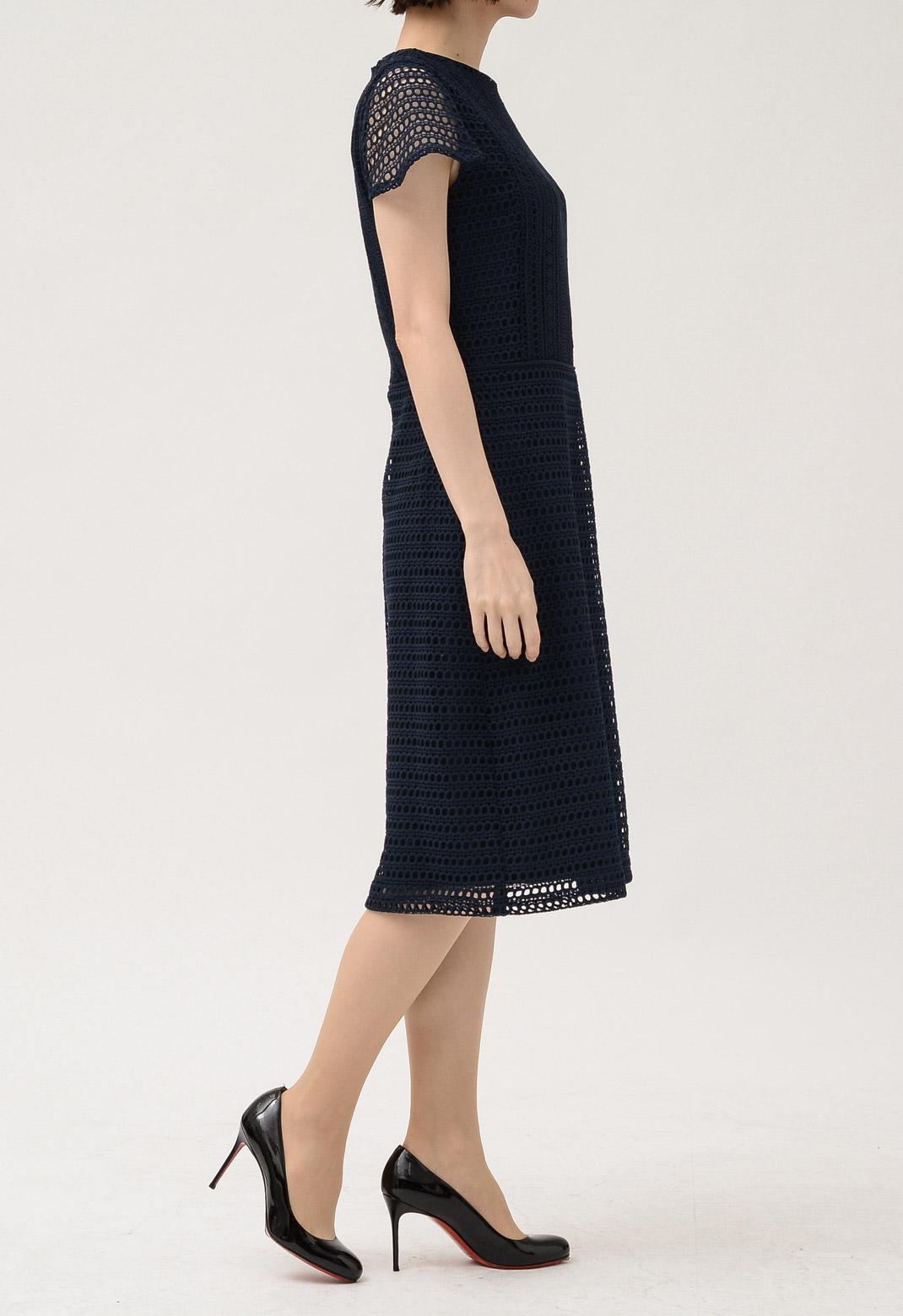 ドレス幾何学柄総レース半袖ドレス