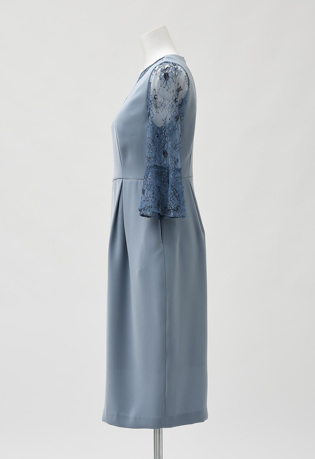 配色 レース コクーン ドレス