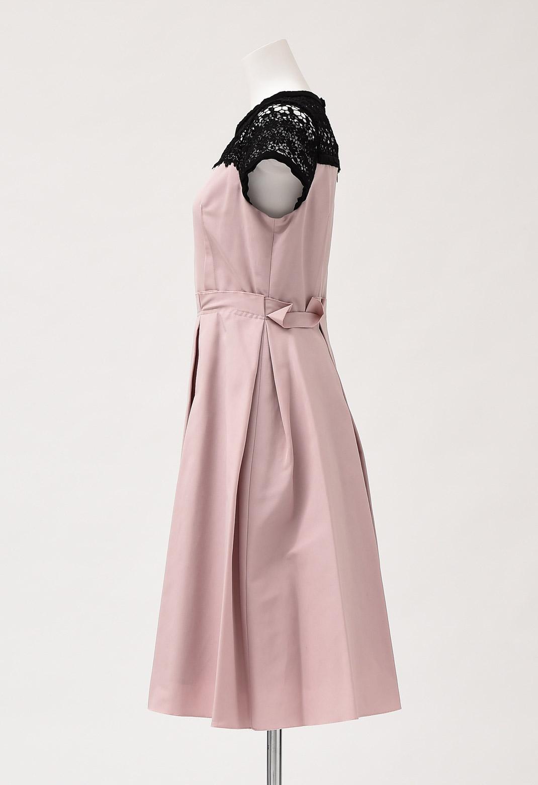 【オンライン限定】レース× バイカラー切替 フレアー ドレス