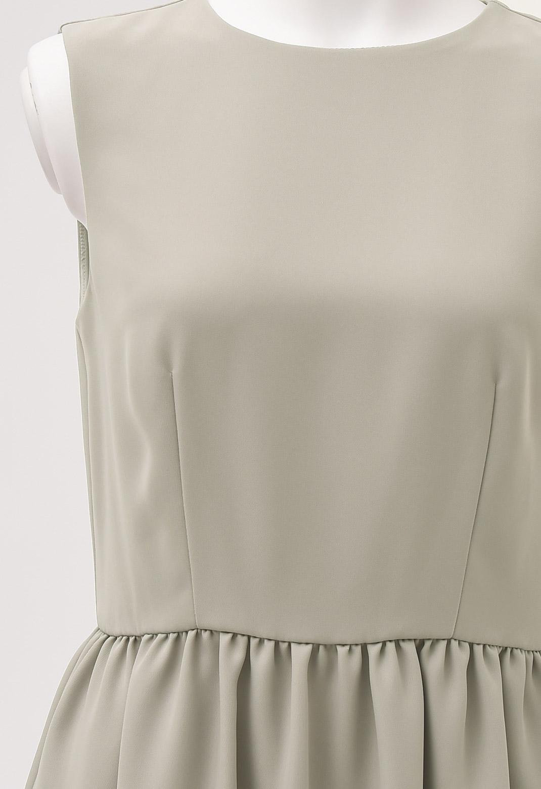 ノースリーブ ギャザー ドレス