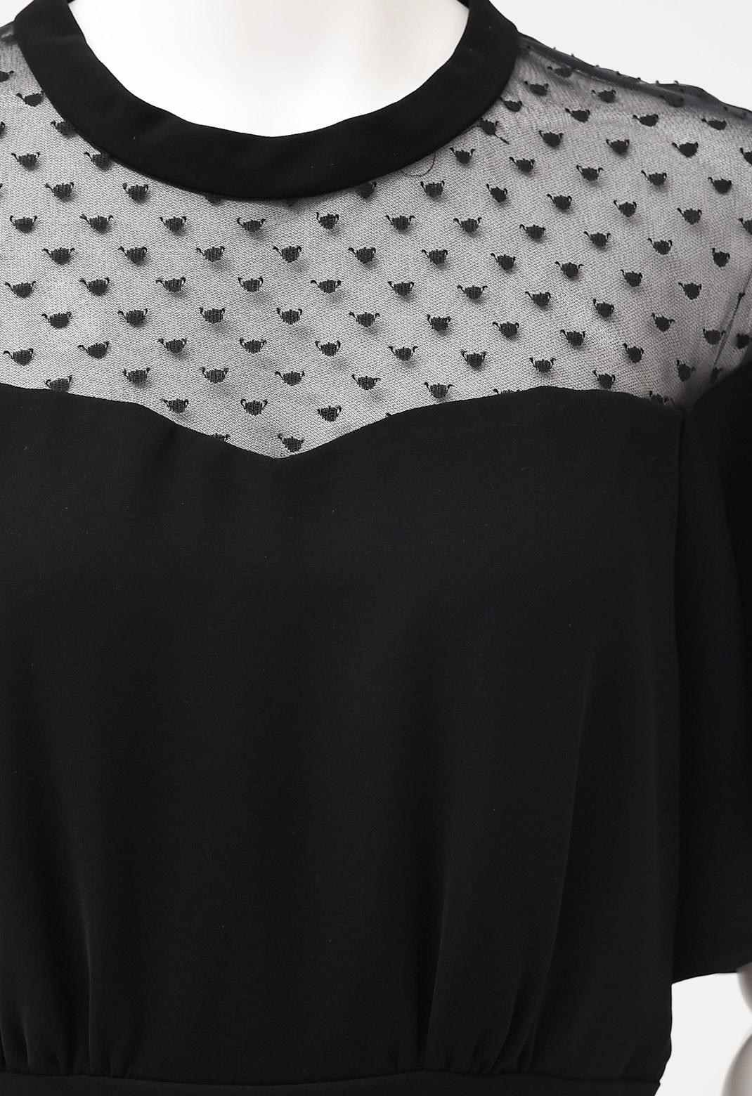 ドットチュール切替 ベルスリーブ 半袖ドレス