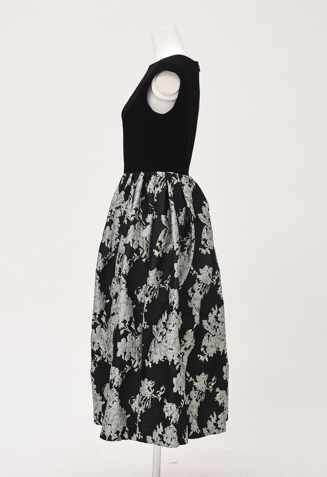 ジャガード 花柄 ドッキング ドレス