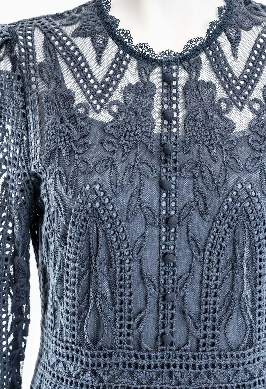 フロントボタン飾り チュール刺繍フラワーレース 七分袖 ドレス