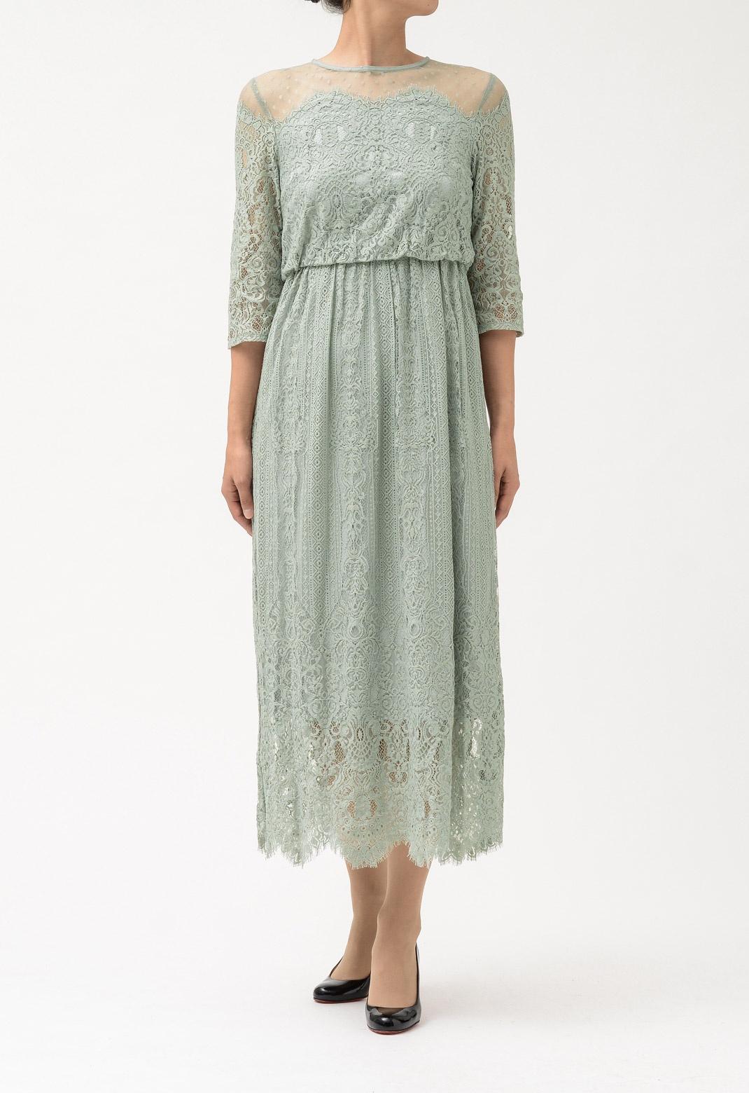 ドットチュール×パネルレース 七分袖 ドレス