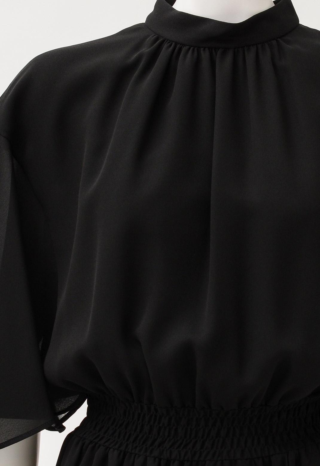 ジョーゼット シャーリング フレアスリーブドレス