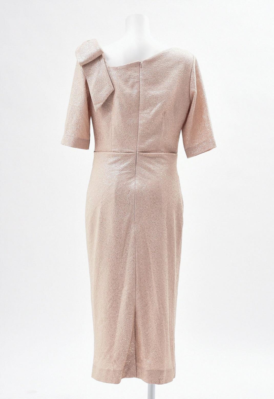 ショルダーリボン飾り 五分袖 ゴールド ドレス