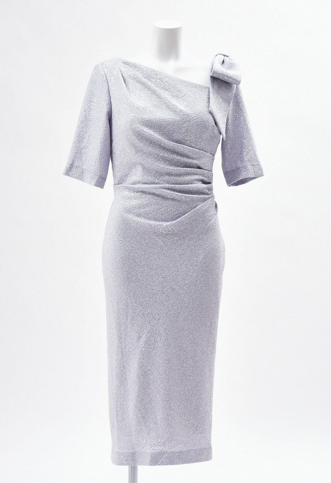 ショルダーリボン飾り 五分袖 シルバー ドレス