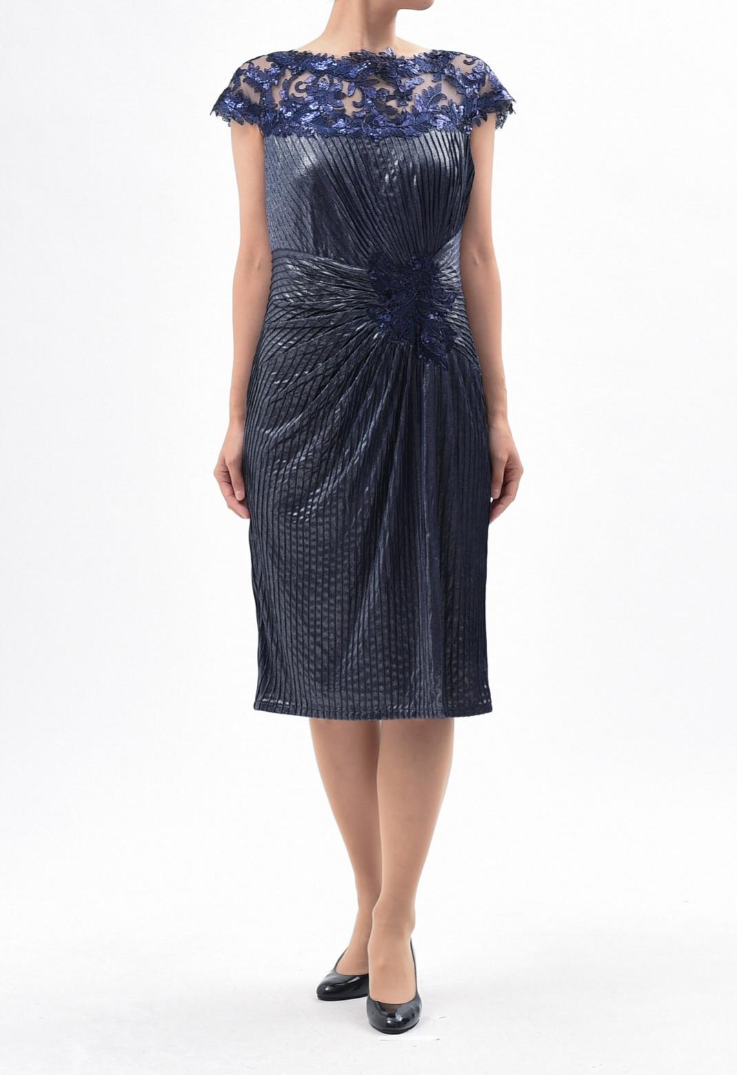 ウエストドレープ スパンコール刺繍 フレンチスリーブ ドレス