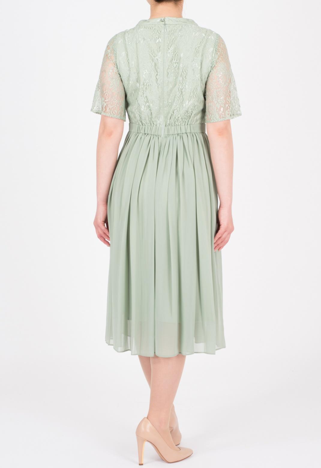 ハシゴレース シフォン 半袖 ドレス